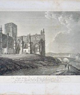 Antique Engraving Print, Priory Church at Haddington, 1786