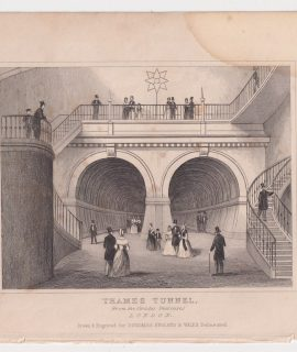 Antique Engraving Print, Thames Tunnel, London, 1845