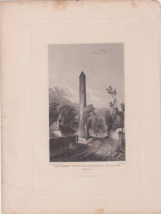 Antique Engraving Print, The round Tower of Clondalkin, Dublin, 1841