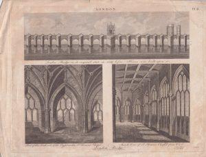 Antique Engraving Print, London Bridge, 1814