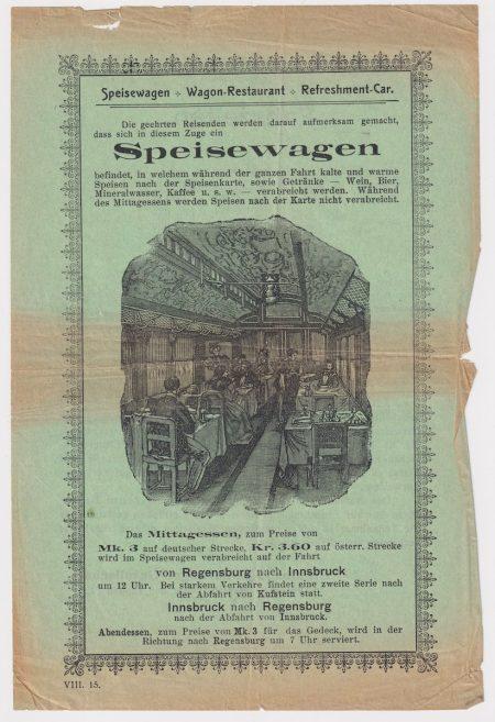 Very Rare Print, Speisewagen Wagon Restaurant, 1868 ca.