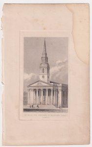 Antique Engraving Print, St. Martin's Church, London, 1830 ca.