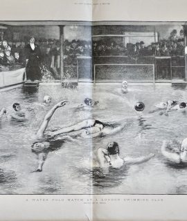 Antique Print, A Water Polo Match at a London Swimming Club, 1897