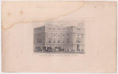 Antique Engraving Print, Regent Circus, Oxford Street, London, 1830