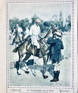 Vintage Print, The Polo Player and his Groom, 1915