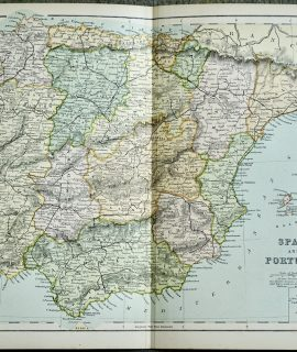 Vintage Print, Spain and Portugal, 1901