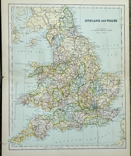 Vintage Print, England and Wales, 1901