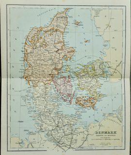 Vintage Map, Denmark, 1901