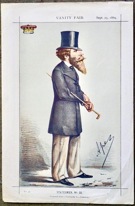 Antique Print, Statesmen n° 32, Vanity Fair, 1869
