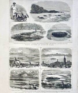Antique Print, The Lagoons of Venice; Turtle Catching at Ascension Island, 1883