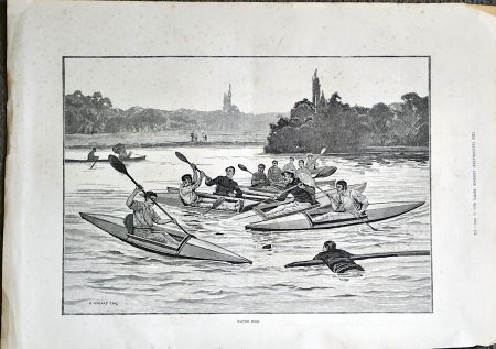 Antique Print, Water Polo, 1883