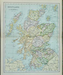 Vintage Map, Scotland, 1901