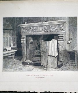 Antique Engraving Print, Chimney Piece in the Baptists Head, 1880