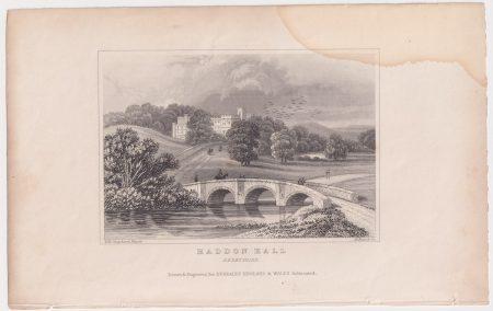 Antique Engraving Print, Haddon Hall, Derbyshire, 1830