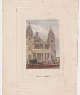 Antique Engraving Print, St. Paul's Cathedral, 1808 ca.