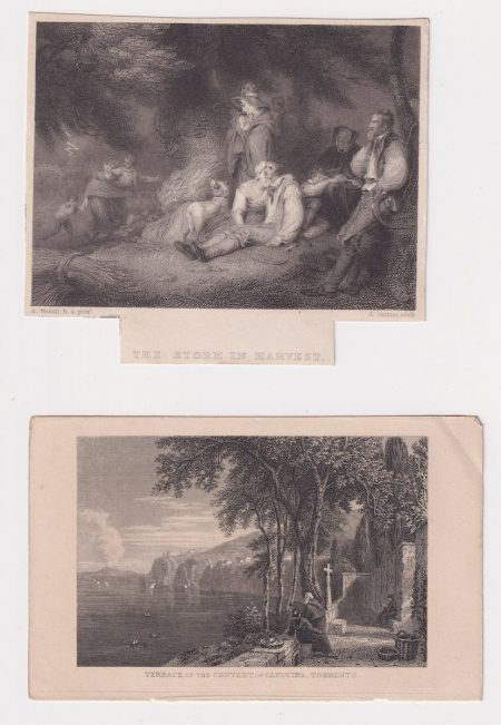 Lot of 2 Antique Engraving Print, Terrace of the convent; The Storm in Harvest, 1830