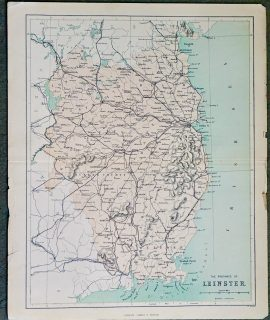 Antique Map, The Province of Leinster, 1891