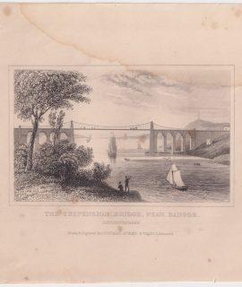 Antique Engraving Print, The Suspension Bridge, Near Bangor, 1830 ca.