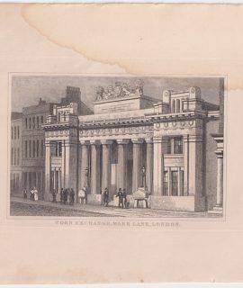 Antique Engraving Print, Corn Exchange, Mark Lane, London, 1830 ca.