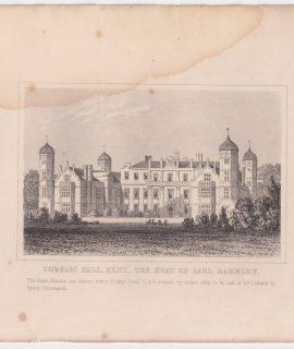 Antique Engraving Print, Cobham Hall, Kent, 1830 ca.