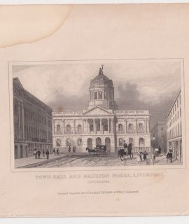 Antique Engraving Print, Town Hall and Mansion House, Liverpool, 1830 ca.