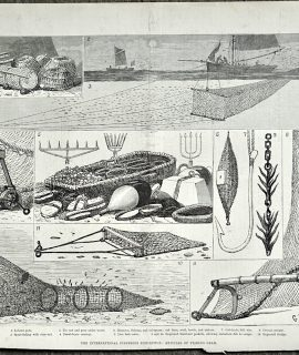 Antique Print, The International Fisheries Exhibition, 1883