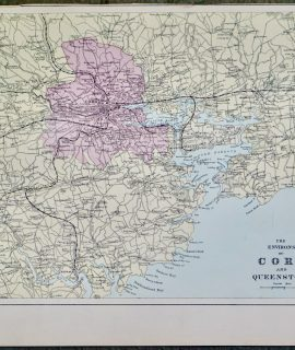 Antique Print, The Environs of Cork and Queenstown, 1891