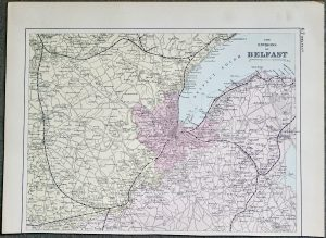 Antique Print, The Environs of Belfast, 1891