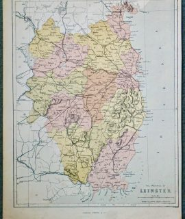 Antique Map, The Province of Leinster, 1861