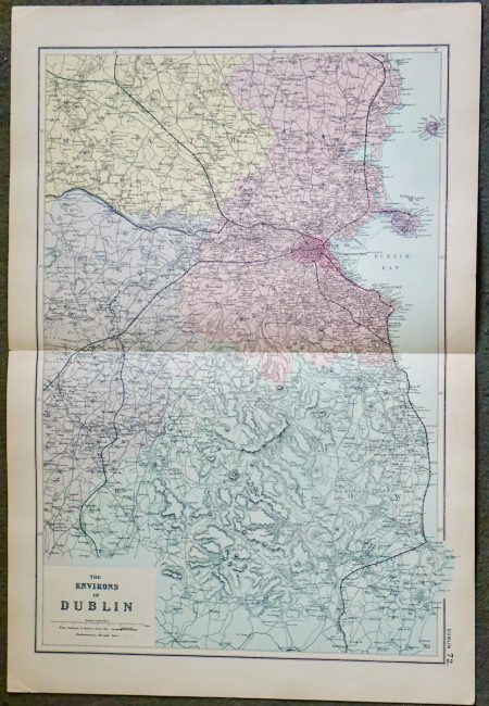 Antique Map, The Environs of Dublin, 1891