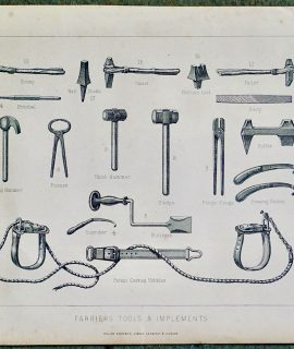 Antique Print, Farriers Tools & Implements, 1880