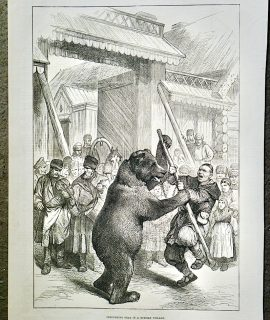 Antique Print, Performing Bear in a Russian Village, 1877