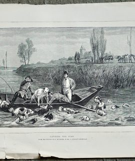 Antique Print, Landing the Stag, 1872