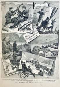 Vintage Print, Deer Stalking & Driving in Scotland, 1881
