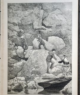 Antique Print, Rob Roy's Cave, Loch Lomond, 1873