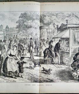 Antique Print, Unter Den Linden Berlin, 1873