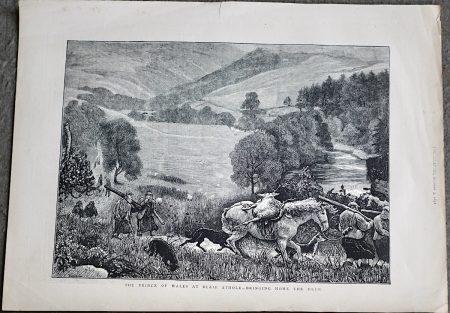 Antique Print, Deer-Stalking in the Highlands, 1873