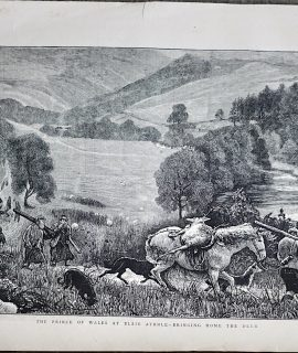 Antique Print, The Prince of Wales at Blair Athole-Bringing home the Deer, 1872