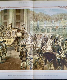 Antique Print, Grand Entry of the Prince into Berlin, 1858