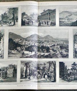 Antique Print, Baden Baden, 1887