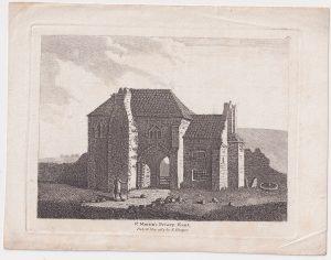 Antique Engraving Print, St. Martin's Priory, Kent, 1784