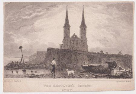 Antique Engraving Print, The Reculver's Church, Kent, 1830