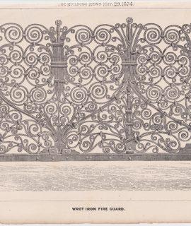 Antique Print, Wrot Iron Fire Guard, 1874