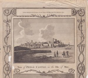 Antique Engraving Print, View of Peele Castle, in the Isle of Man, 1790