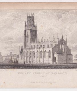 Antique Engraving Print, The New Church at Ramsgate, Kent, 1829