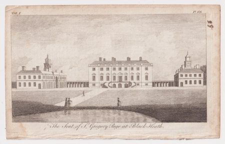Antique Engraving Print, The Seat of St. Gregory Page at Black Heath, 1776