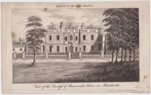 Antique Engraving Print, View of the Duchefs of Brunswicks House, 1808