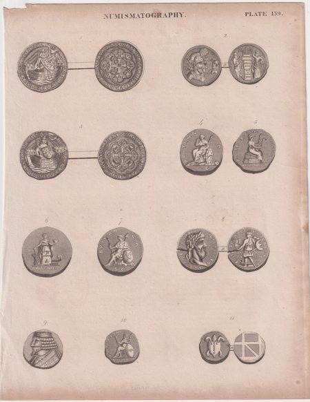 Antique Print, Numismatography, 1836