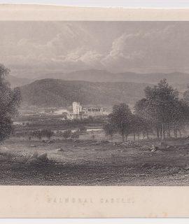 Antique Engraving Print, Balmoral Castle, 1840