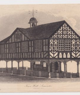 Antique Engraving Print, Town Hall Seominster, 1830 ca.